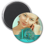 Sweet 16 elegant peacock feather template 6 cm round magnet
