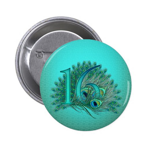 Sweet 16 elegant peacock feather template pinback buttons