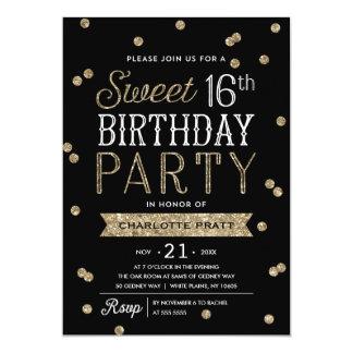 Sweet 16 Faux Gold Glitter Confetti Party 13 Cm X 18 Cm Invitation Card