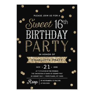 Sweet 16 Faux Gold Glitter Confetti Party Card