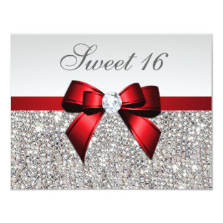 Sweet 16 Faux Silver Sequins Diamonds Red Bow 11 Cm X 14 Cm Invitation Card