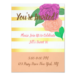 Sweet 16 Flirty Flower Invitations