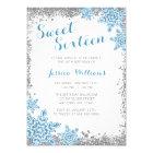 Sweet 16 Glam Winter Wonderland Silver Blue Card