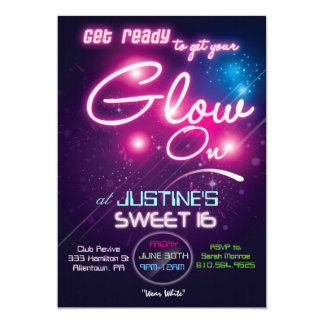 Sweet 16 Glow Party Eighties 80s Invitation