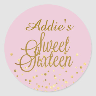 Sweet 16 Gold Dot Stickers