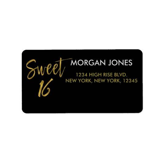 Sweet 16 Gold Foil Birthday Address Label