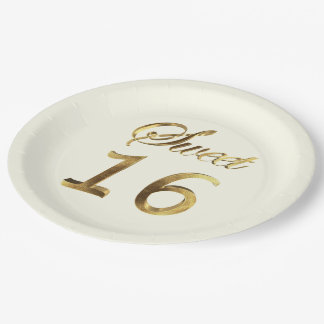 Sweet 16 Gold Look Typography Ivory Elegant 9 Inch Paper Plate