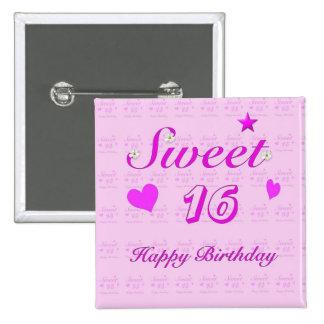 Sweet 16 Happy Birthday 15 Cm Square Badge