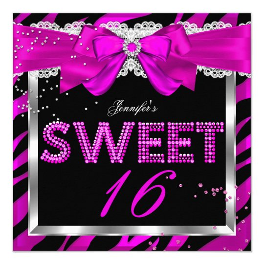 Sweet 16 Hot Pink Zebra Glitter Glam Birthday