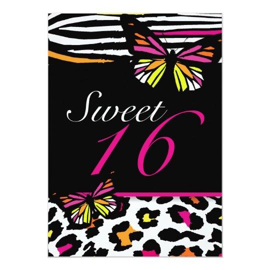 Sweet 16 Invitation Bright Butterfly & Zebra Print