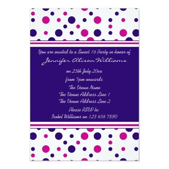 Sweet 16 Invitations Pink & Purple Polka Dots