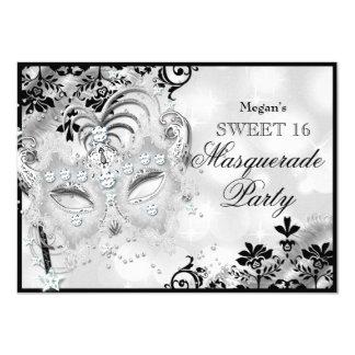 Sweet 16 Jewel Mask & Damask Silver Masquerade 11 Cm X 16 Cm Invitation Card