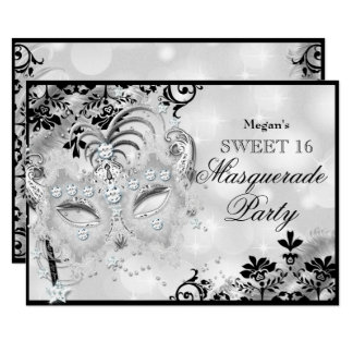 Sweet 16 Jewel Mask & Damask Silver Masquerade Card