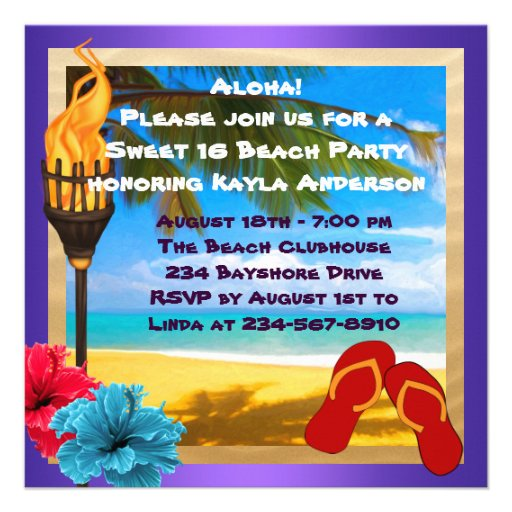 Sweet 16 Luau Beach Party Personalized Announcement