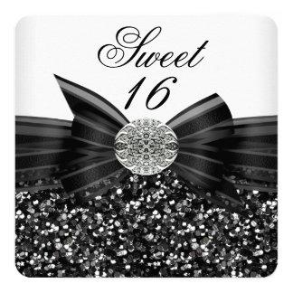 Sweet 16 Luxury Glitter Bow Silver Black White 13 Cm X 13 Cm Square Invitation Card