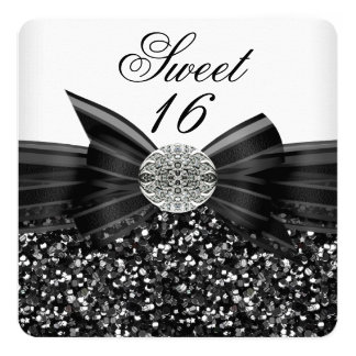 Sweet 16 Luxury Glitter Bow Silver Black White Card