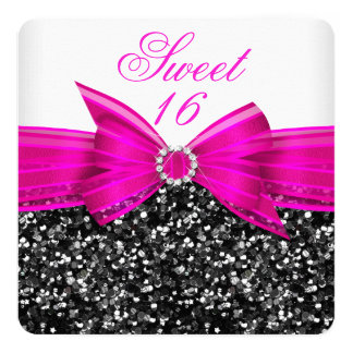 Sweet 16 Luxury Glitter Hot Pink Bow Black White Card