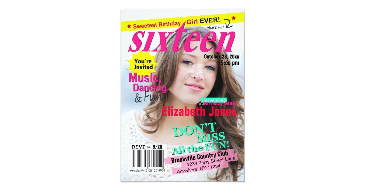 Unique Magazine Cover Birthday Invitations Component - Invitation ...