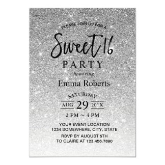 Sweet 16 Modern Silver Glitter Birthday Card