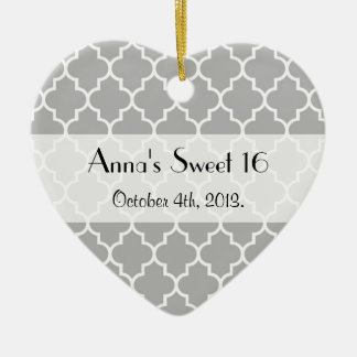Sweet 16 - Moroccan Trellis, Latticework - Gray Christmas Ornament