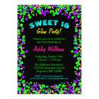 Sweet 16 Neon Glow Confetti Birthday Party Card