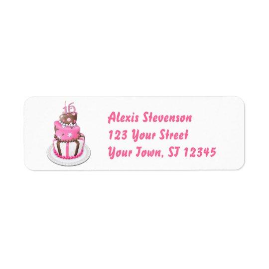 Sweet 16 Party Cake Return Address Label