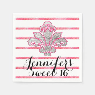 Sweet 16 Party Fx Silver Damask Pink Paper Napkins