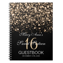 Sweet 16 Party Guestbook Midnight Glam Gold Note Book