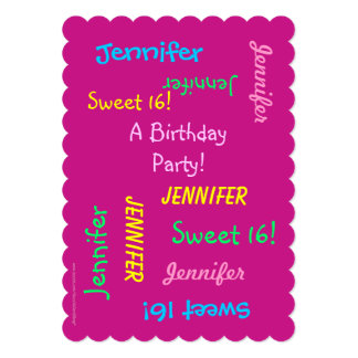 Sweet 16 Party Invitation, Personalized, Names 13 Cm X 18 Cm Invitation Card