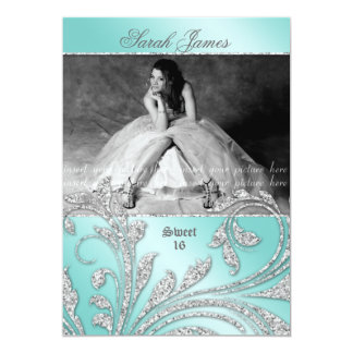 Sweet 16 Party Invite Glitter Leaves Mint Green