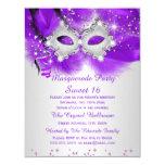 Sweet 16 Party Mask Purple Silver Masquerade 11 Cm X 14 Cm Invitation Card