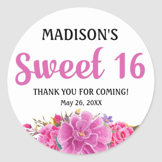 Sweet 16 Party Personalised Thank You Sticker