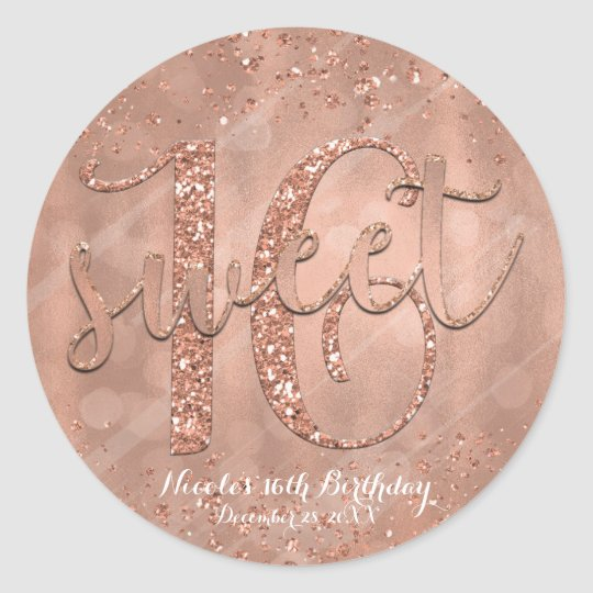 Sweet 16 Party Pink Rose Gold Glamour Favour
