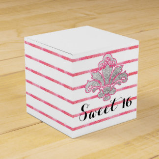 Sweet 16 Party Pink Stripe Favor Box Silver Damask Party Favour Boxes