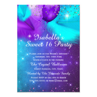 Sweet 16 Party Teal Purple Silver Balloons 13 Cm X 18 Cm Invitation Card