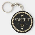 """Sweet 16 - Pearls on black """"velvet"""" Basic Round Button Key Ring"""