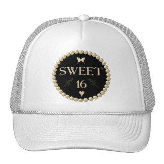 """Sweet 16 - Pearls on black """"velvet"""" Cap"""