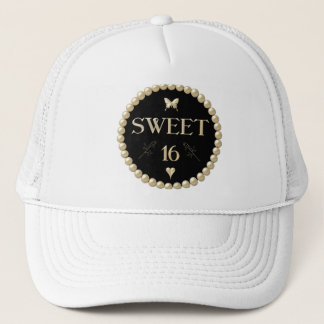 "Sweet 16 - Pearls on black ""velvet"" Trucker Hat"
