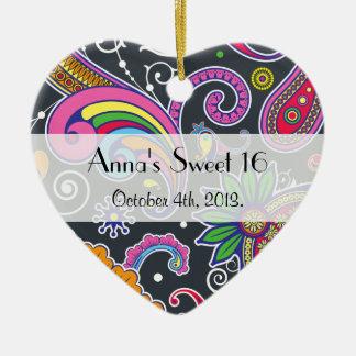 Sweet 16 - Persian Paisley - Green Pink Blue Ceramic Heart Decoration