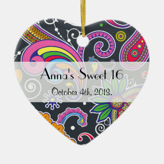 Sweet 16 - Persian Paisley - Green Pink Blue Christmas Ornament