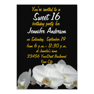 "Sweet 16 Petty White Orchids 5"" X 7"" Invitation Card"
