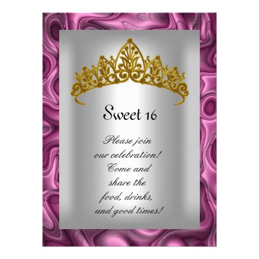 Sweet 16 Pink and Silver Gold Tiara  Party Custom Announcements