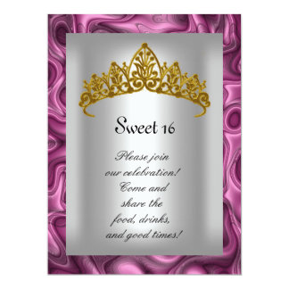 """Sweet 16 Pink and Silver Gold Tiara  Party 6.5"""" X 8.75"""" Invitation Card"""