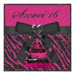 Sweet 16 Pink & Black Cake Faux Glitter Zebra 13 Cm X 13 Cm Square Invitation Card
