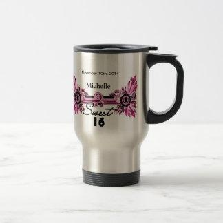 Sweet 16 Pink Black Scrolls & Swirls Name Date Coffee Mugs