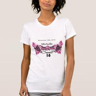 Sweet 16 Pink Black Scrolls & Swirls Name Date Tees