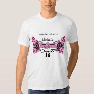 Sweet 16 Pink Black Scrolls & Swirls Name Date Tshirts