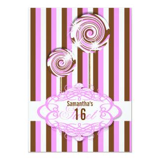 Sweet 16 pink brown sixteenth 13 cm x 18 cm invitation card