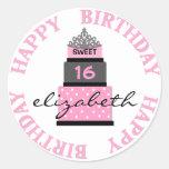 Sweet 16 Pink Cake Round Sticker