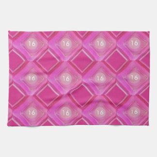 Sweet 16, Pink Diamonds Number Tea Towel